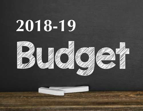 A graphic shows a chalkboard with the word 'budget' written on it