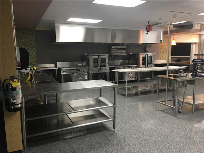 A commercial-grade kitchen space at Pauline Johnson Collegiate