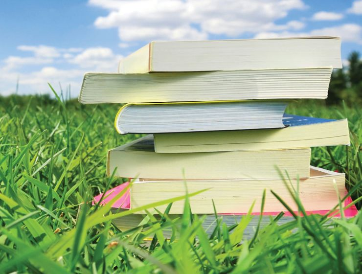A stack of books sits in green grass on a sunny day