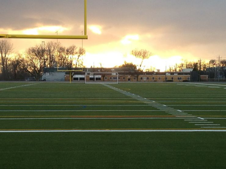 A football field at sundown