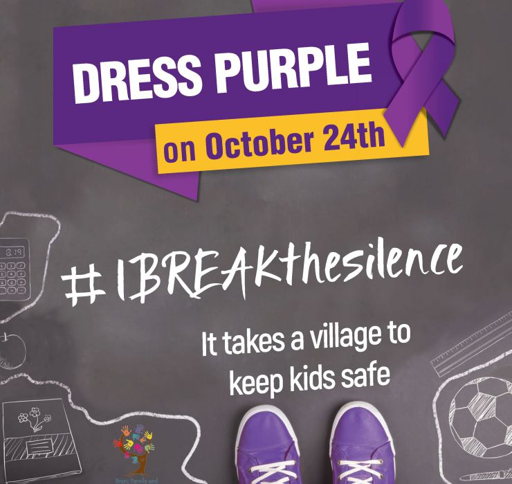 Logo promoting Dress Purple initiative