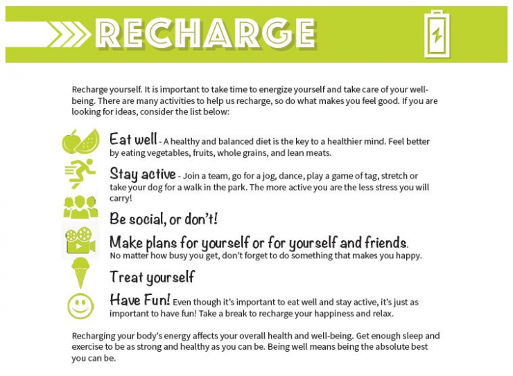 Recharge poster for Be Well campaign